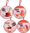 """Подставка под горячее """"Coffee Time"""" Ø16см с текстильным шнуром"""