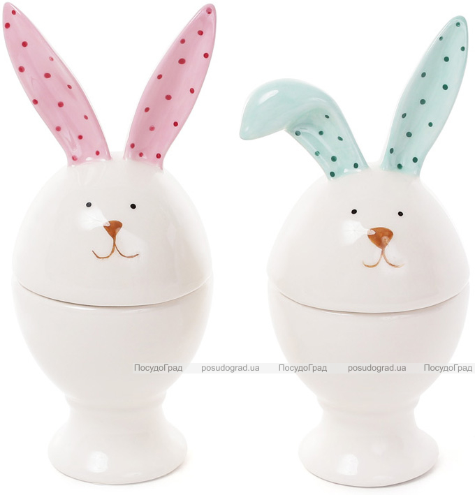"""Подставка для яйца """"Зайчик с цветными ушками"""" 15см, керамика"""