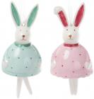 """Підвісна фігурка-дзвіночок """"Кролик в кольоровому одязі"""" 5.3х5.3х9см"""