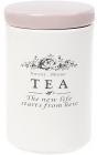 Банка керамическая Sweet Home TEA 750мл для хранения чая, розовая крышка