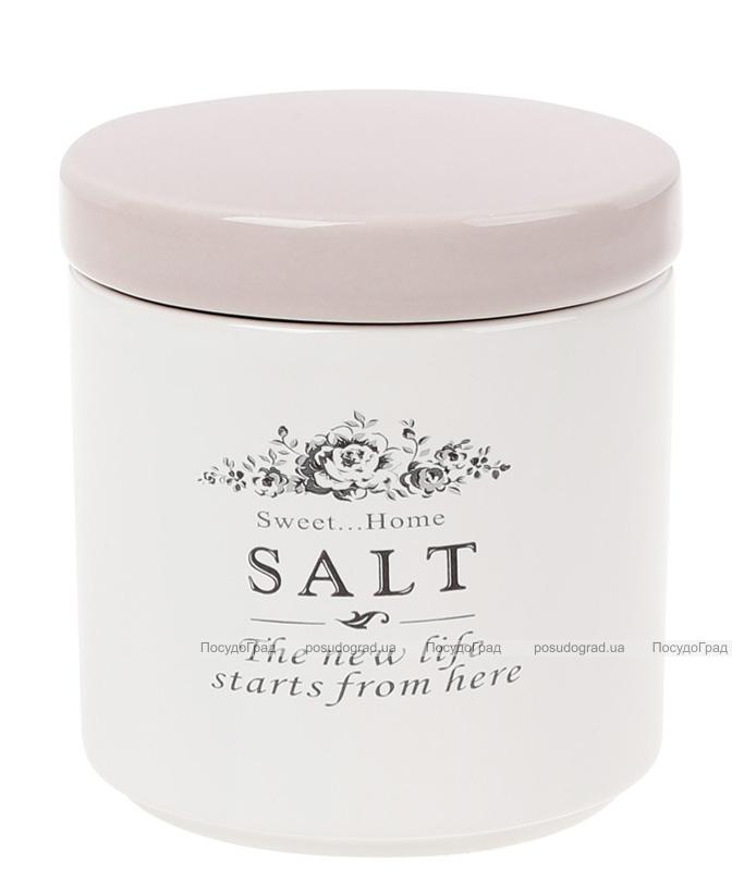 Банка керамическая Sweet Home SALT 450мл для хранения соли, розовая крышка