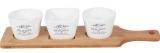 Набор керамических соусников Sweet Home 3 по 350мл на деревянной подставке