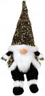 М'яка іграшка «Гном Black&White» 22х16х64см в золотих пайєтках, сидячий
