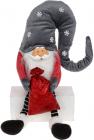 М'яка іграшка «Гномик з мішком» 30см, червоний з сірим, сидячий