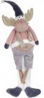 М'яка іграшка «Кумедний Олень» 60см, рожевий з синім, сидячий