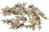 Декоративна гірлянда зі штучної хвої з шишками, бантами і ягодами 152см