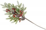 Декоративна гілка зі штучної хвої з шишками і ягодами 66см