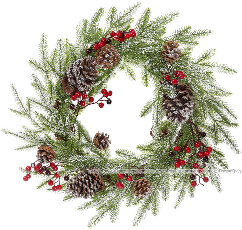 """Новорічний декоративний вінок """"Хвоя в снігу"""" Ø56см"""