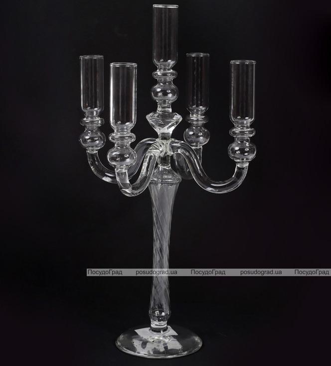 """Підсвічник скляний Aiken """"Yarlate"""" на 5 свічок 15х15х38см"""