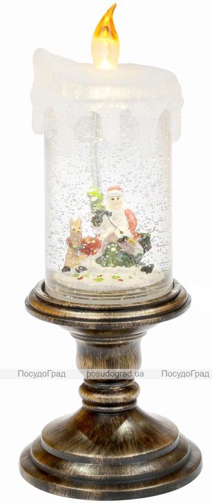 """Новогодний декоративный фонарь """"Горящая свеча"""" 27см с LED подсветкой"""