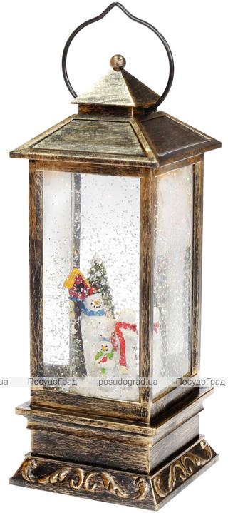 """Новогодний декоративный фонарь """"Снеговики"""" 28см с LED подсветкой, подвесной"""