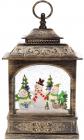 """Новогодний декоративный фонарь """"Трио снеговиков"""" 27.5см с LED подсветкой, подвесной"""