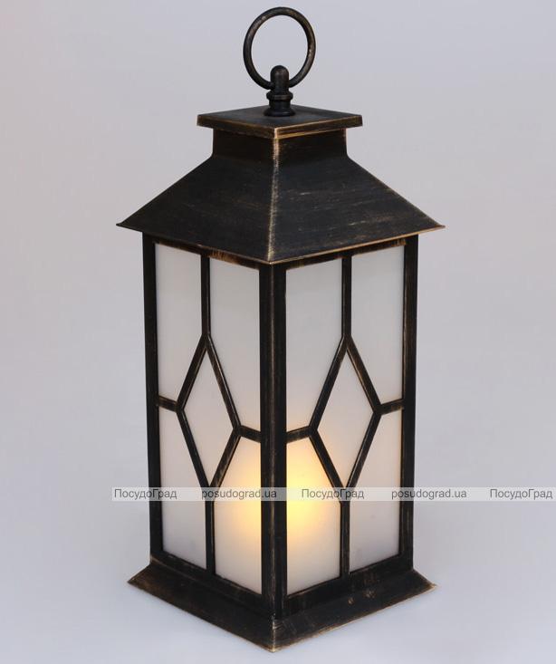 """Декоративний ліхтар """"Нічний вогник"""" з LED підсвічуванням 13х13х30см"""