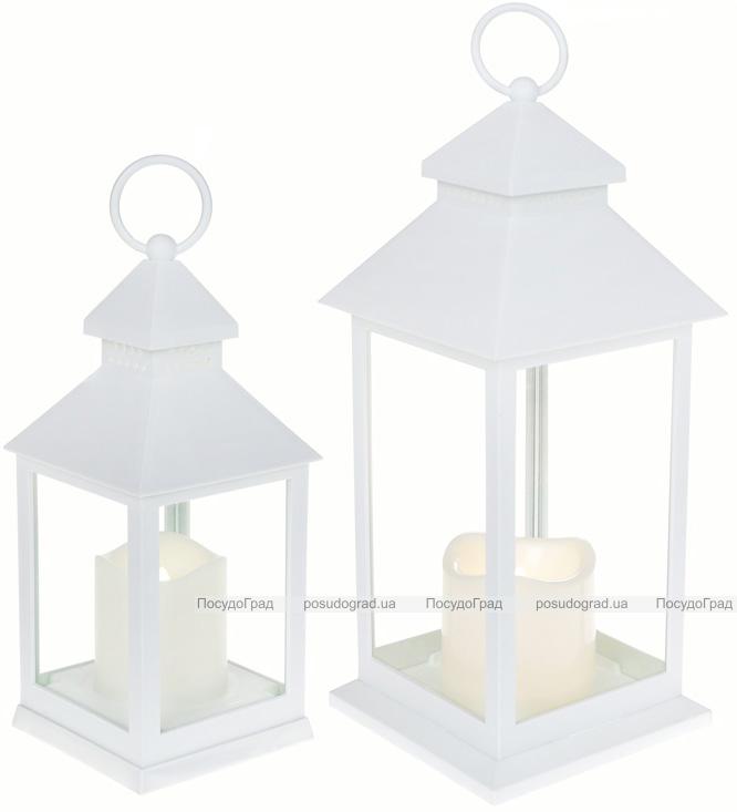 """Декоративный фонарь """"Ночной огонек"""" с LED подсветкой 10.5х10.5х24см, белый"""