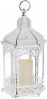 """Декоративный фонарь """"Ночной Огонек"""" с LED подсветкой 18х16х31см, белый с патиной"""