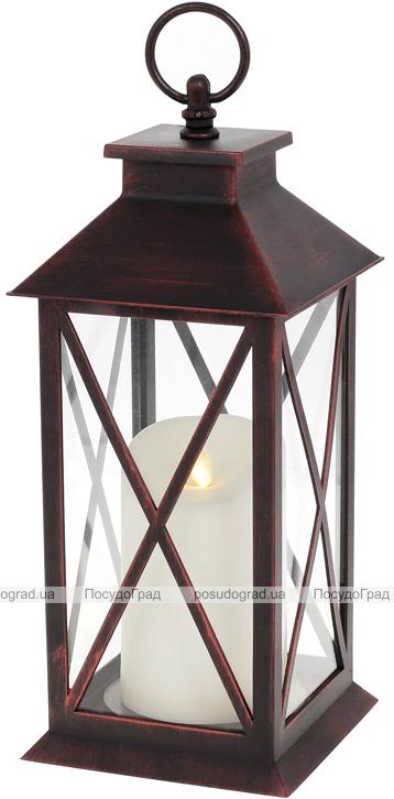 """Декоративний ліхтар """"Нічний Вогник"""" з LED підсвічуванням 13х13х31.5см, чорний з мідною патиною"""