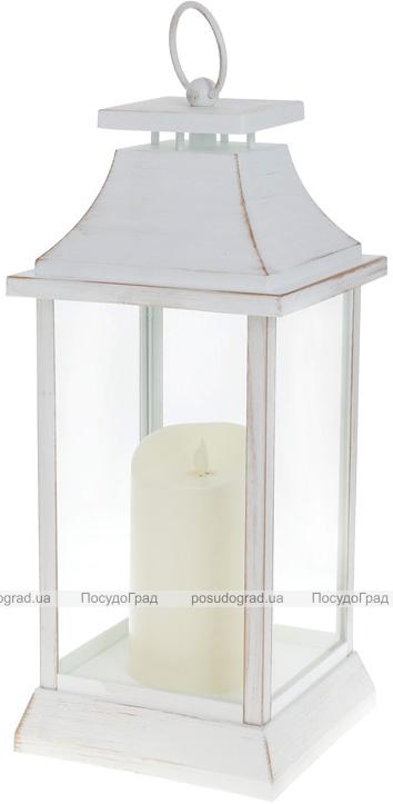 """Декоративный фонарь """"Ночной Огонек"""" с LED подсветкой 17.5х17.5х41см, белый с золотой патиной"""