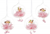 "Декоративная подвеска ""Цветочная фея в шаре"" 9х8х10см, в розовом"