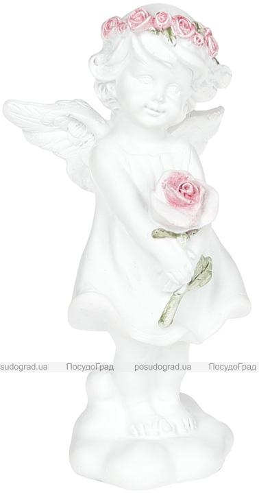 """Статуетка декоративна """"Ангел з трояндою"""" 6.5х5.3х13см"""