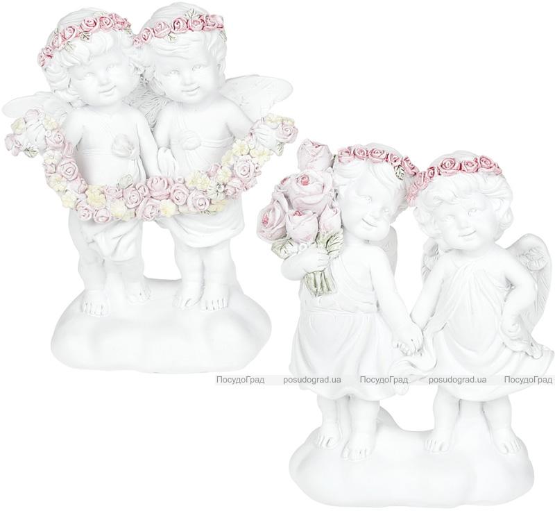 """Декоративна композиція """"Янголята з трояндами"""" 10.4х5.3х12.7см"""