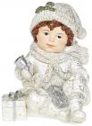 """Статуетка декоративна """"Хлопчик з Подарунками"""" 11.1х11.5х13.2см полістоун, срібло"""