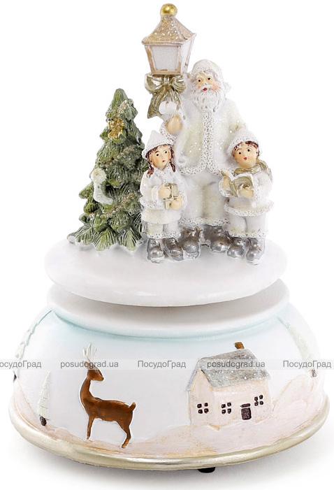 """Новогодняя музыкальная композиция """"Санта с детками"""" 11х11х15см"""