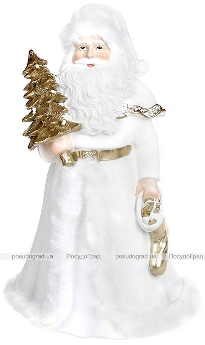 """Декоративна статуетка Санти """"Довгоочікуваний Гість"""" 14х12х23см, полістоун, білий з золотом"""