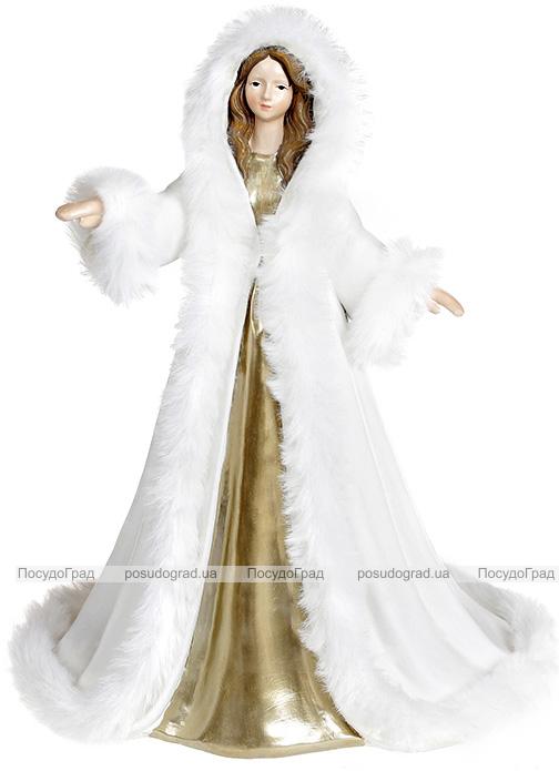 """Декоративна статуетка """"Ангел в білосніжній шубі"""" 18.5х15х24см"""