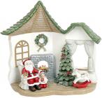"""Новорічна композиція """"Санта у гостях"""" з LED підсвічуванням 16х9.5х17.5см"""