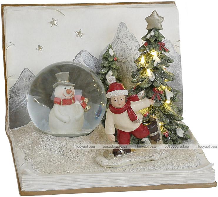 "Новогодняя композиция ""Мальчик со Снеговиком"" с LED подсветкой 16х16х11.5см"