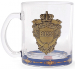 """Стеклянная кружка с металлической эмблемой """"BOSS"""" 335мл"""