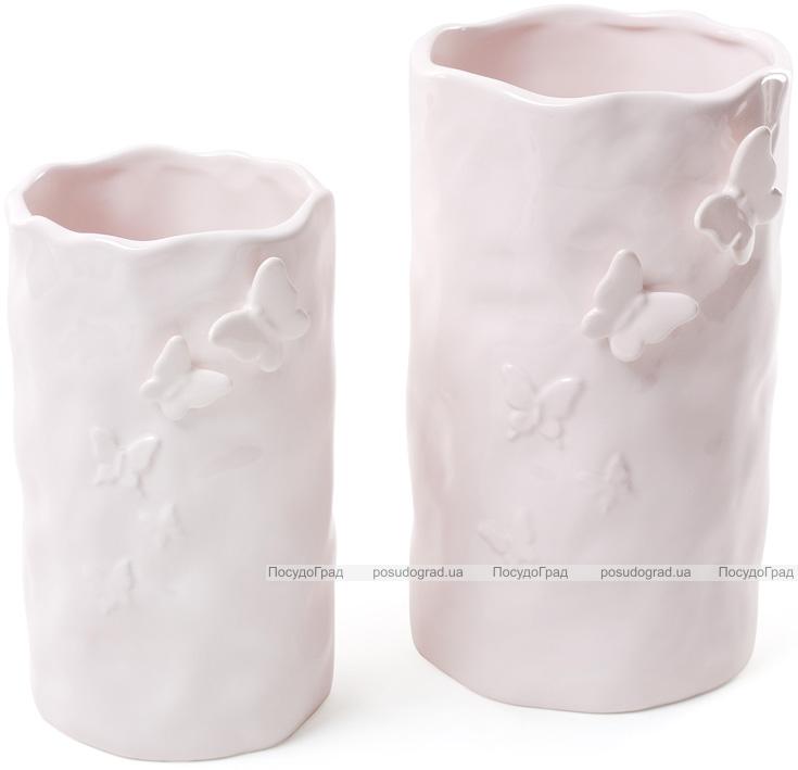 """Ваза керамическая """"Бабочки"""" 19см, светло-розовая"""