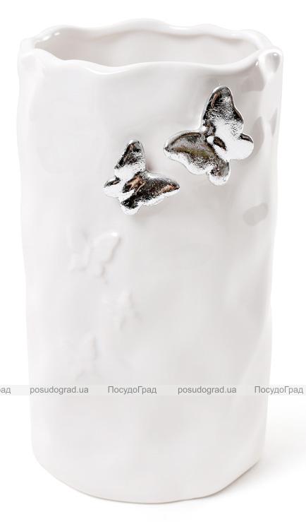 """Ваза керамическая """"Серебристые Бабочки"""" 19см, белая"""