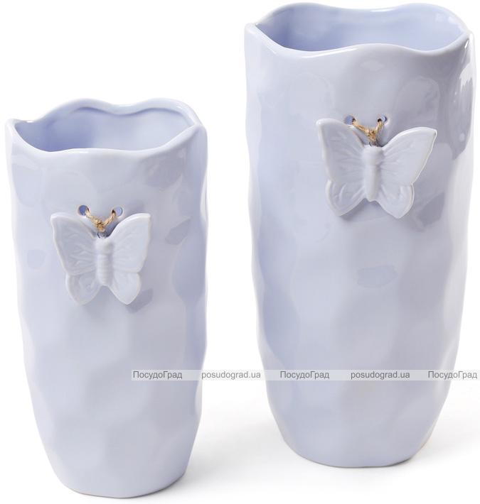 """Ваза Flowers Garden """"Бабочка"""" 21.5см, """"мятая керамика"""" светло-голубая"""