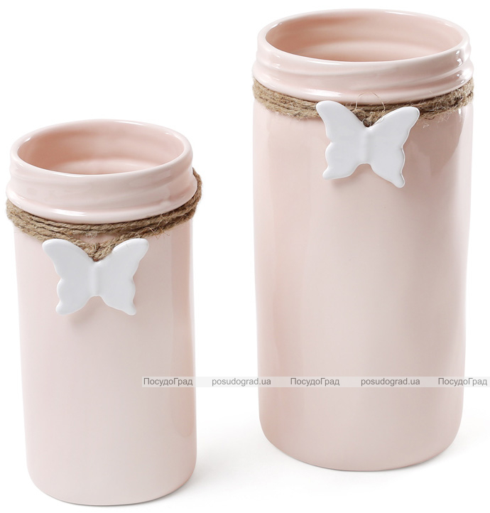 """Ваза для цветов Flowers Garden """"Бабочка"""" 22см керамическая, розовая"""