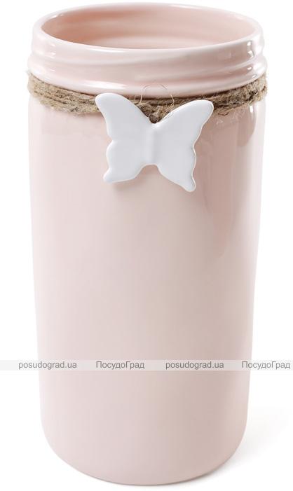 """Ваза для цветов Flowers Garden """"Бабочка"""" 26см керамическая, розовая"""