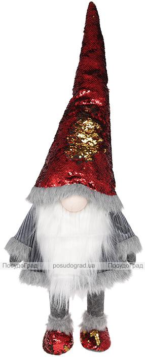 Мягкая игрушка «Гномик» Grey 30х21х81см в красных пайетках