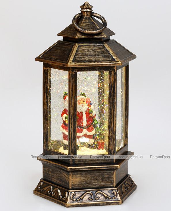 """Новогодний декоративный фонарь """"Санта с мешком"""" 25см с LED подсветкой, подвесной"""