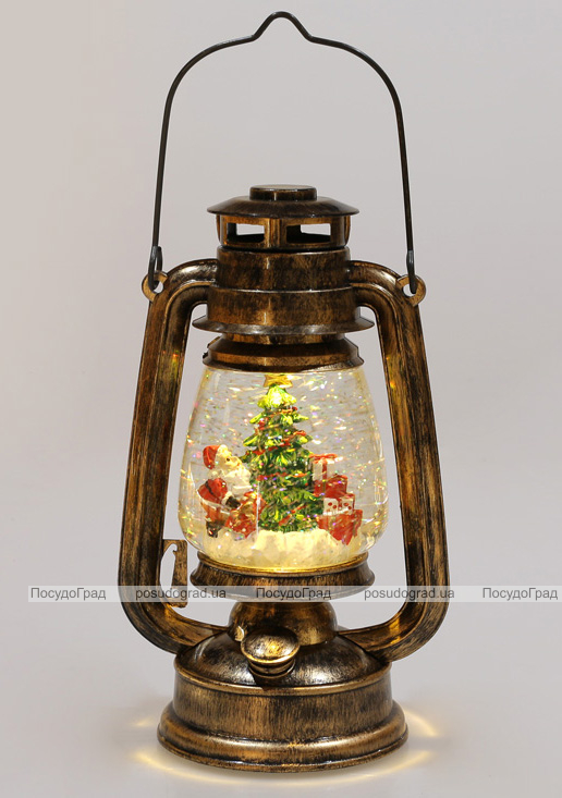 """Новорічний декоративний ліхтар """"Санта з подарунками"""" 26см з LED підсвічуванням, підвісний"""