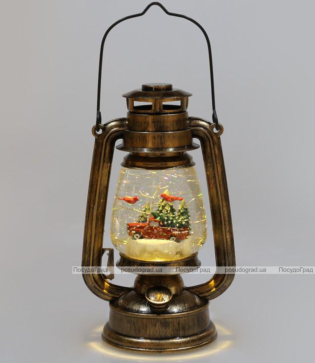 """Новогодний декоративный фонарь """"Автомобиль с ёлкой"""" 26см с LED подсветкой, подвесной"""