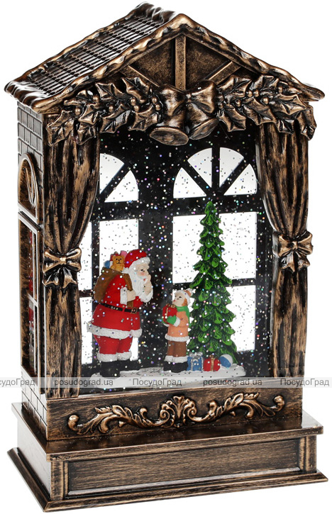 """Новорічний декоративний ліхтар """"Щедрий Санта"""" 25.5см з LED підсвічуванням, підвісний"""