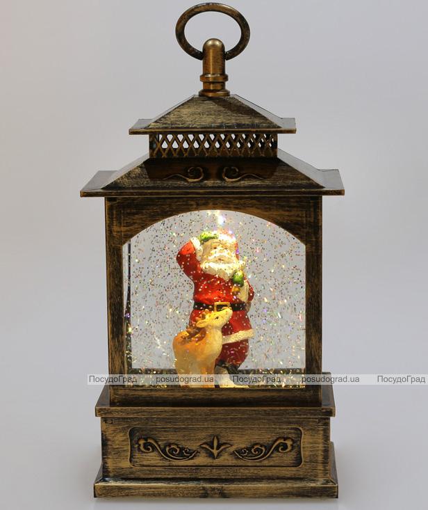 """Новорічний декоративний ліхтар """"Санта з оленям"""" 27.6см з LED підсвічуванням, підвісний"""