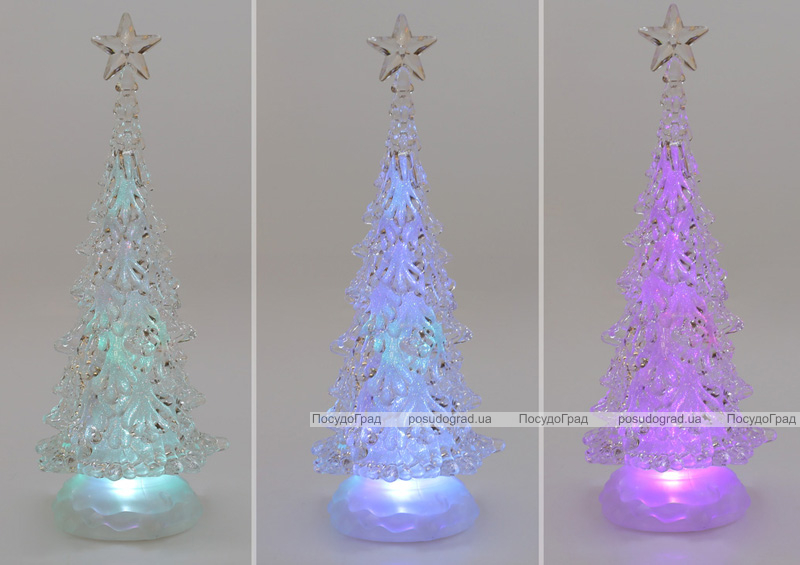 Декоративна ялинка з LED підсвічуванням 32см, прозорий пластик