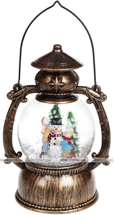 """Новогодний декоративный фонарь """"Создание Снеговика"""" 20.5см с LED подсветкой, подвесной"""