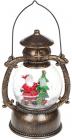 """Новогодний декоративный фонарь """"Санта у ёлочки"""" 20.5см с LED подсветкой, подвесной"""