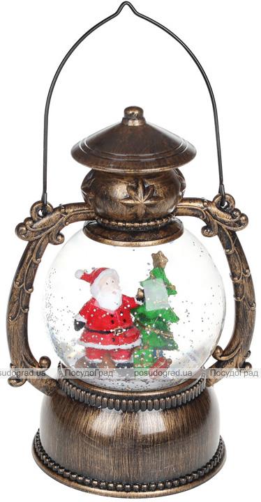 """Новорічний декоративний ліхтар """"Санта біля ялинки"""" 20.5см з LED підсвічуванням, підвісний"""