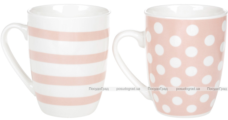 """Набор 2 фарфоровые кружки """"Жизнь прекрасна"""" 320мл, розовый цвет"""
