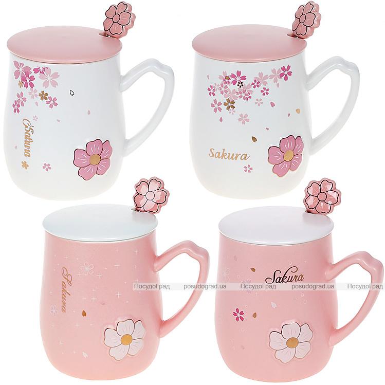 """Кружка порцелянова """"Sakura"""" 380мл з кришкою і ложкою, 4 дизайни"""