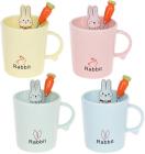 """Кружка порцелянова """"Rabbit"""" 380мл з кришкою і ложкою, 4 дизайни"""