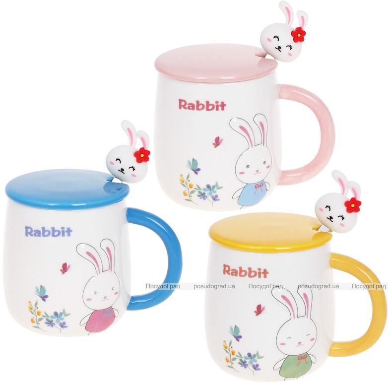"""Кружка порцелянова """"Rabbit"""" 430мл з кришкою і ложкою, 3 дизайни"""